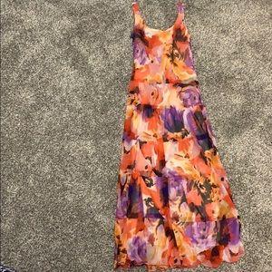 Long Floral NINE WEST dress with built in slip